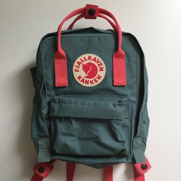 5cce9aa4f9c Fjallraven Handbags - Fjallraven Kanken Mini Frost Green Peach Pink